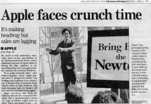 Leading the Newton protest at Apple in 1998
