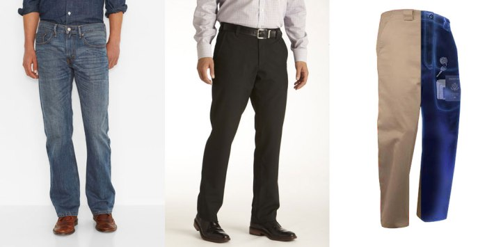 Levi's 559 jeans, Bluff Works pants, and Scottevest Hidden Cargo Pants
