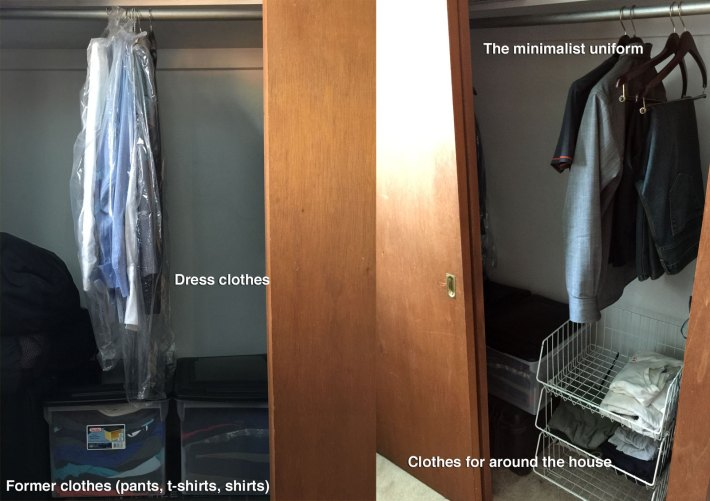 My minimalist closet. On the right are all the clothes that I will wear. On the left are dress clothes and my former clothes.