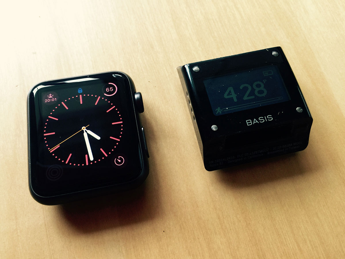 The Apple Watch and the Basis B1 without their bands.