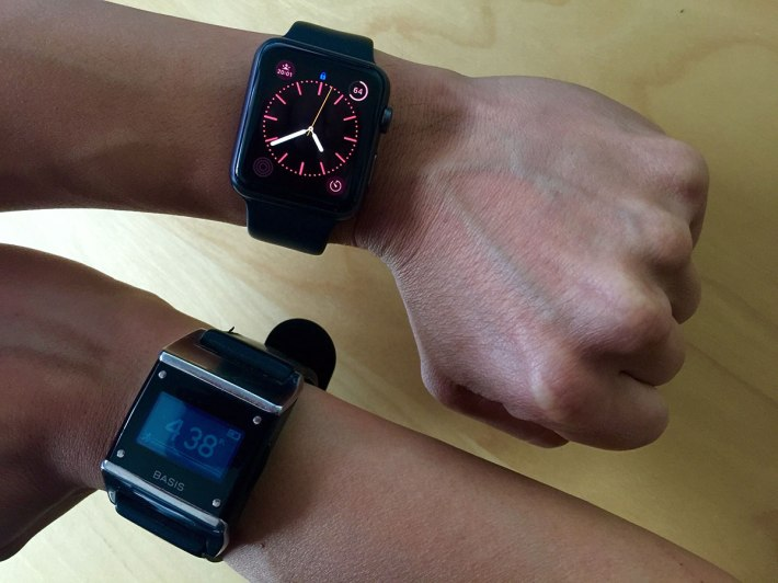 It's all on the wrist. The Apple Watch and the Basis B1 Band.