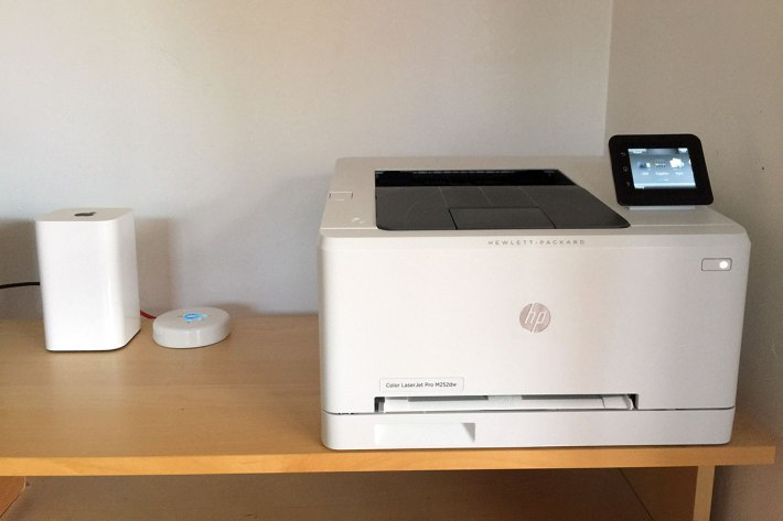The LaserJet M252dw is connected to my network via Wi-Fi, so that's one less cable to worry about.