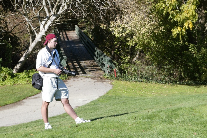 Photographing the Stanford golf team with Alex.