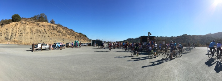 Cyclists gather at the start of the ride up Montebello.