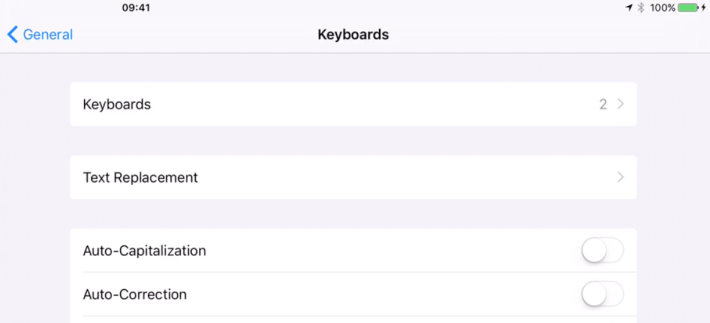 Turn off Auto-Correct and Auto-Capitalization to make your iPad Pro's keyboard work more like a physical keyboard.