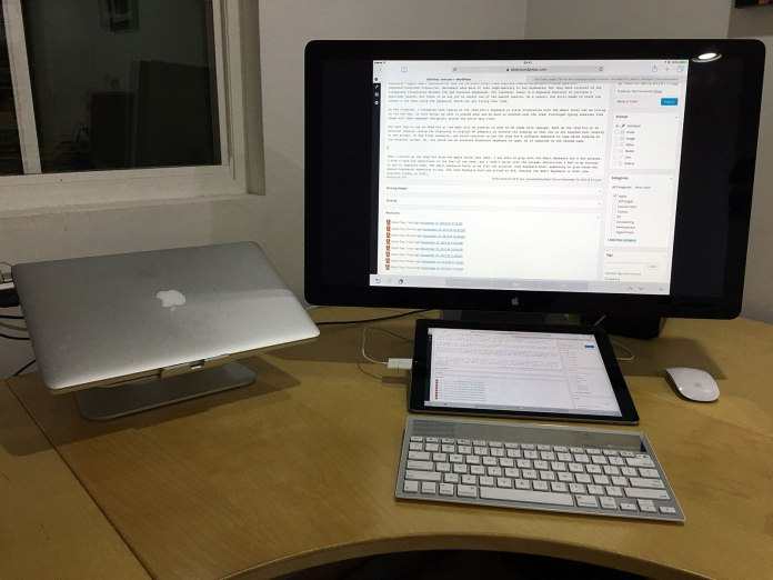 Using an external keyboard with the iPad Pro connected to my Apple Thunderbolt Display.