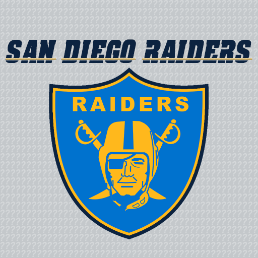 The blue, powder blue, and gold of the Chargers on the current Raiders' shield logo.