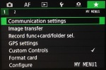 To quickly change communication and image transfer settings, add the relevant commands to the Custom menu tab.