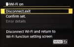 When the camera has connected successfully to Wi-Fi and the FTP server, the Error details menu item will be greyed out.