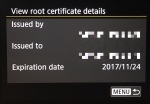 Only one root certificate for an FTPS server can be installed on the 5D Mark IV.