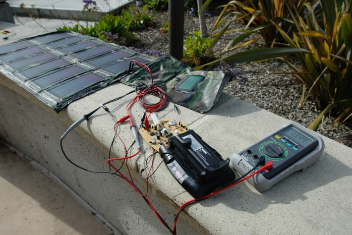 From 2002, a prototype solar powered battery charger for the Canon EOS 1D NP-E3 batteries.