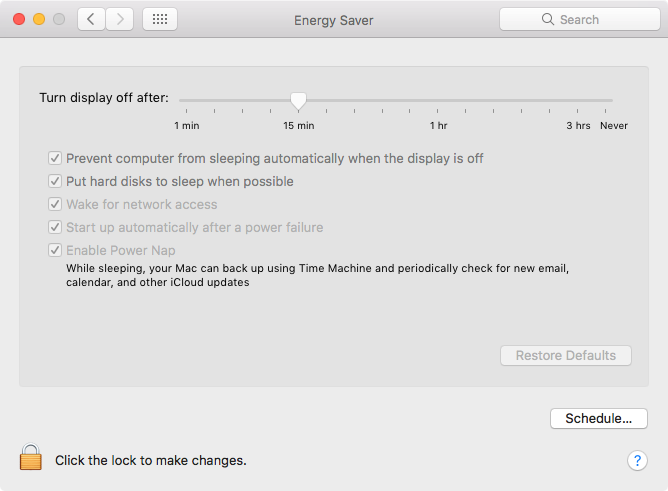Ensure your Mac server starts up automatically after a power failure in Energy Saver settings.