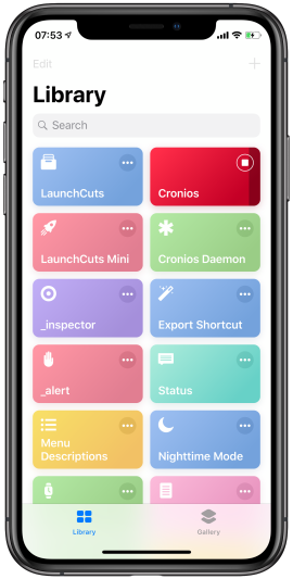 Stop Cronios by tapping the stop button in the Shortcuts app