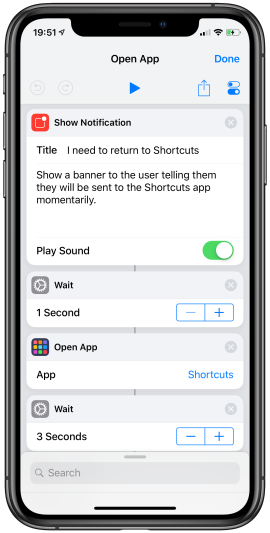 Using Open App to force a switch back to the Shortcuts app